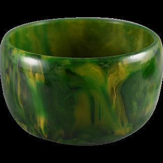 Vintage Bakelite End Of Day Bracelet, Wide Spinach Green