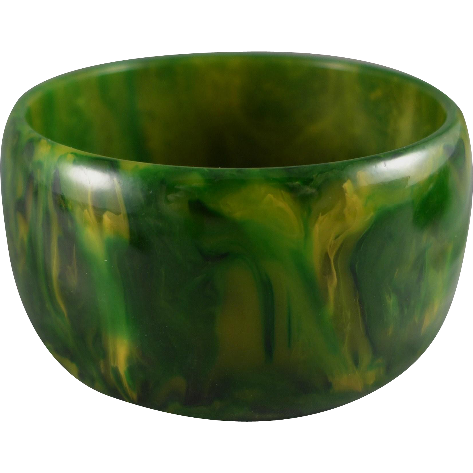 Vintage Bakelite End Of Day Bracelet, Wide Spinach Green