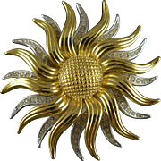 Vintage Kenneth Jay Lane Sunflower Brooch / Pin / Pendant
