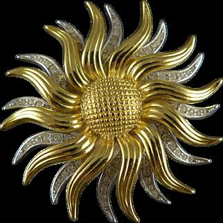 Vintage Kenneth Jay Lane Sunflower Brooch / Pin / Pendant