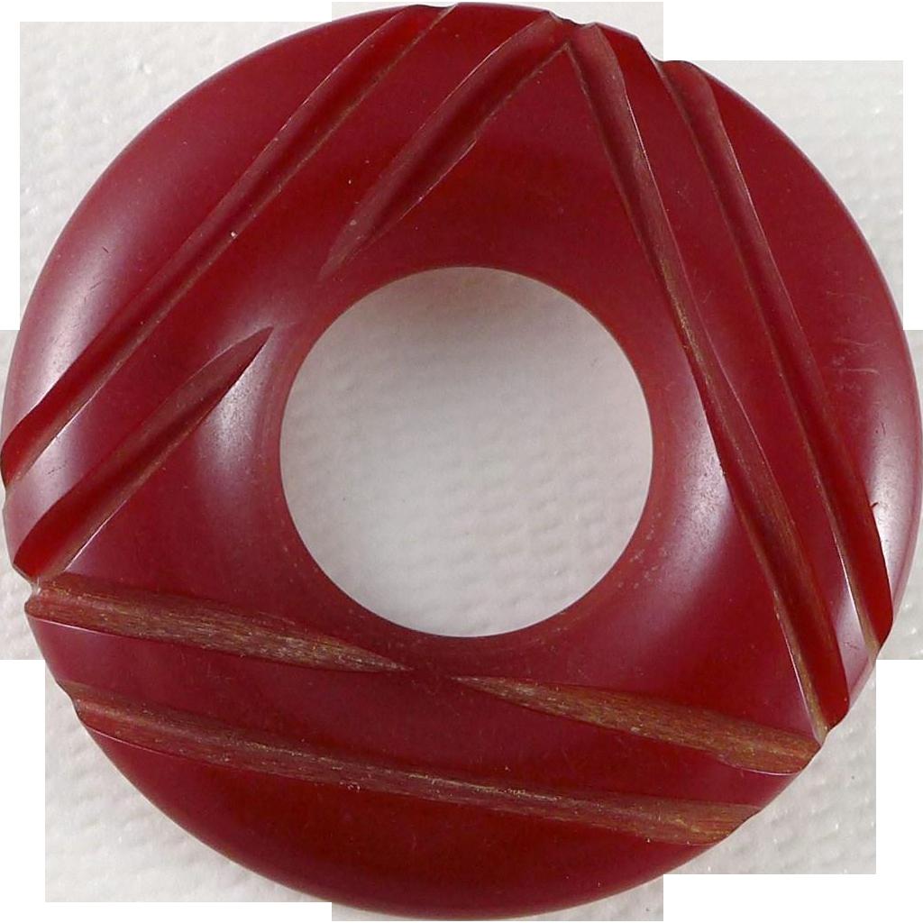 Vintage Red Carved Bakelite Brooch / Pin, Art Deco