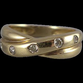 Vintage 14K Gold Diamond Band Ring - 0.15 CTW