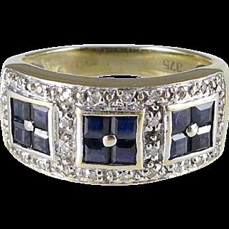 Vintage 9ct Gold Sapphire Diamond Ring