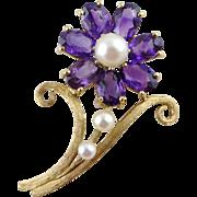 Vintage 14K Gold Amethyst Pearl Brooch / Pin Flower
