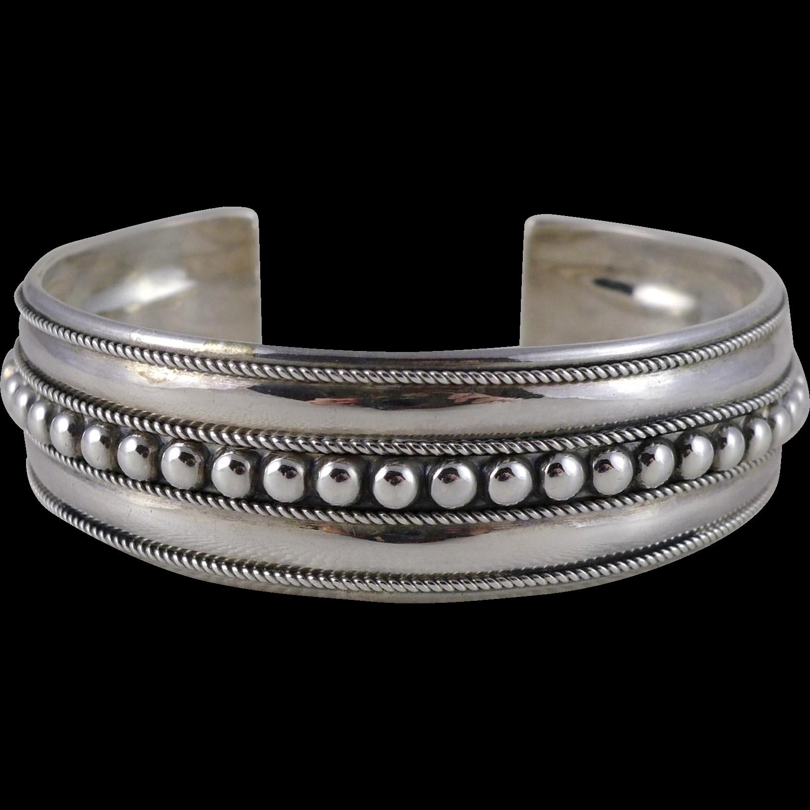 Vintage Sterling Silver Cuff Bracelet Signed FAS