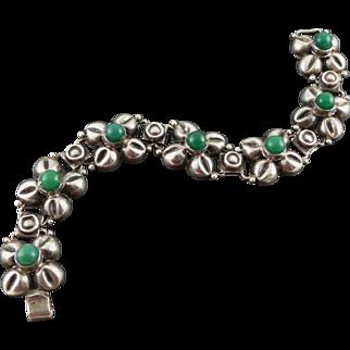 Vintage Mexican Sterling Silver Agate Bracelet - Flowers
