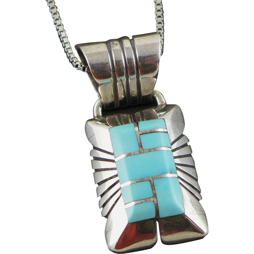 Vintage Sterling Silver Navajo Turquoise Necklace - Chester Benally