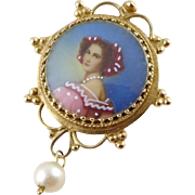 Vintage 14K Gold Portrait Pendant or Brooch / Pin