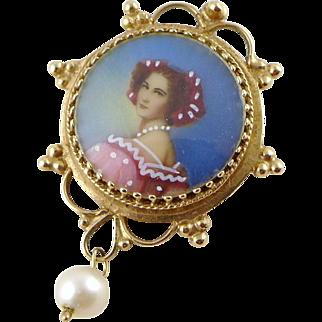 Vintage 14K Gold Portrait Pendant or Brooch / Pin