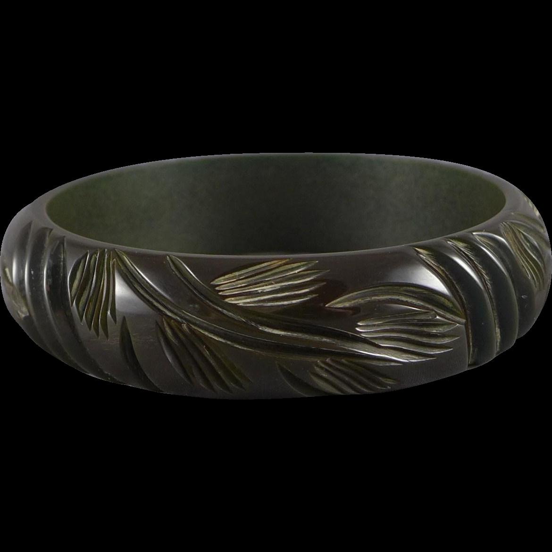 Vintage Deeply Carved Bakelite Bangle Bracelet, Olive Green