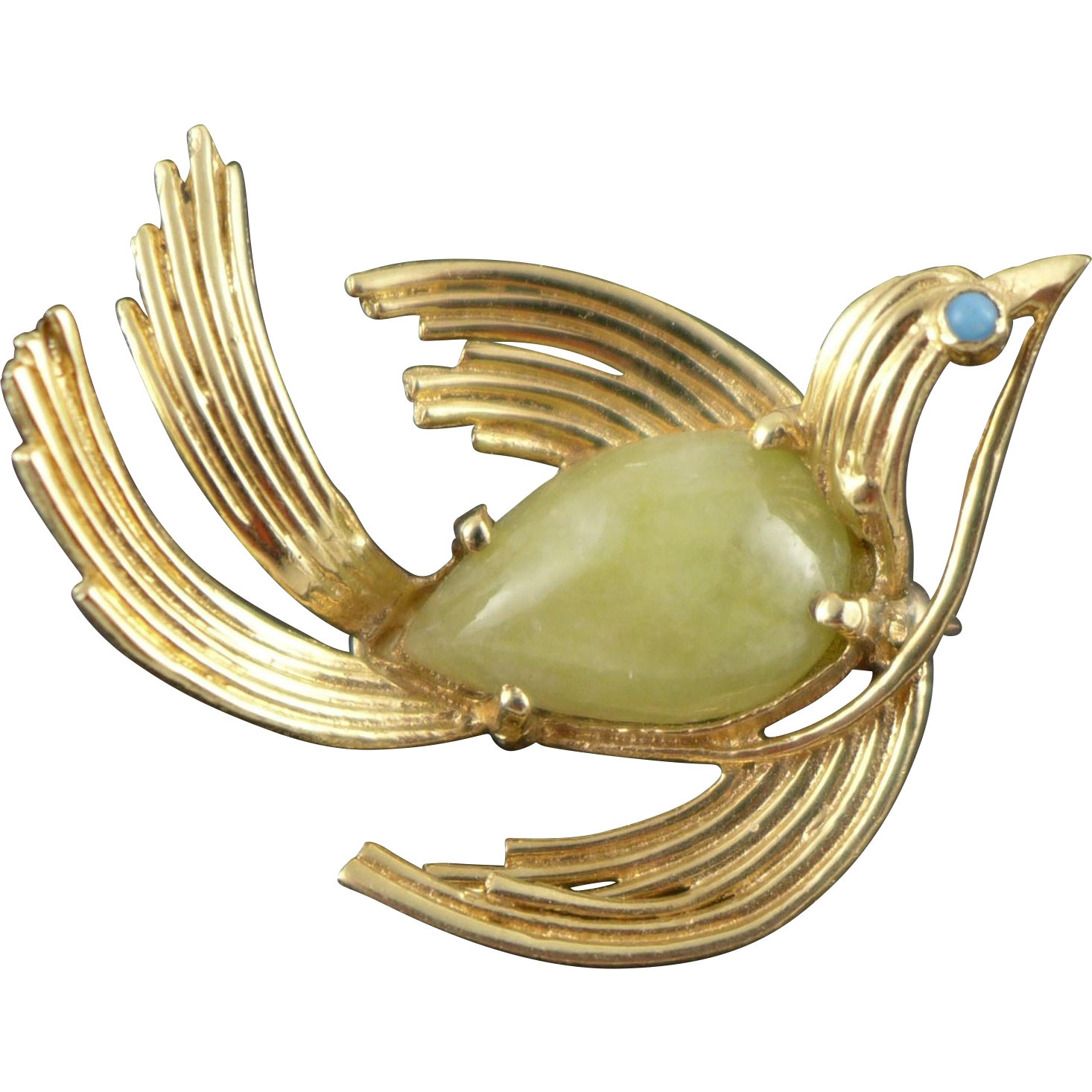 Vintage Figural 14K Gold Jade Brooch / Pin - Bird
