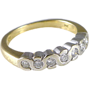 Vintage English 18K Gold Diamond Ring - Anniversary Style