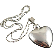 Vintage Sterling Silver Heart Necklace, Mexican Pendant