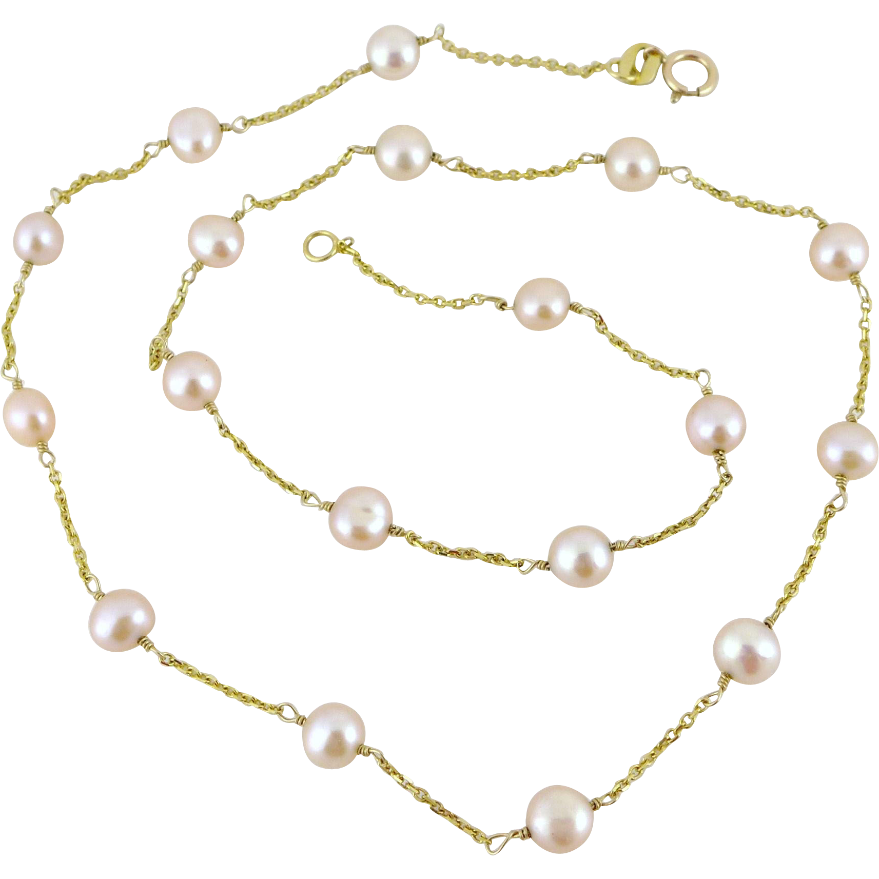 Vintage 14K Gold Pearl Station Necklace - Pink 16 Inches