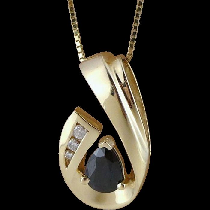 Vintage 14K Gold Sapphire Diamond Pendant Necklace