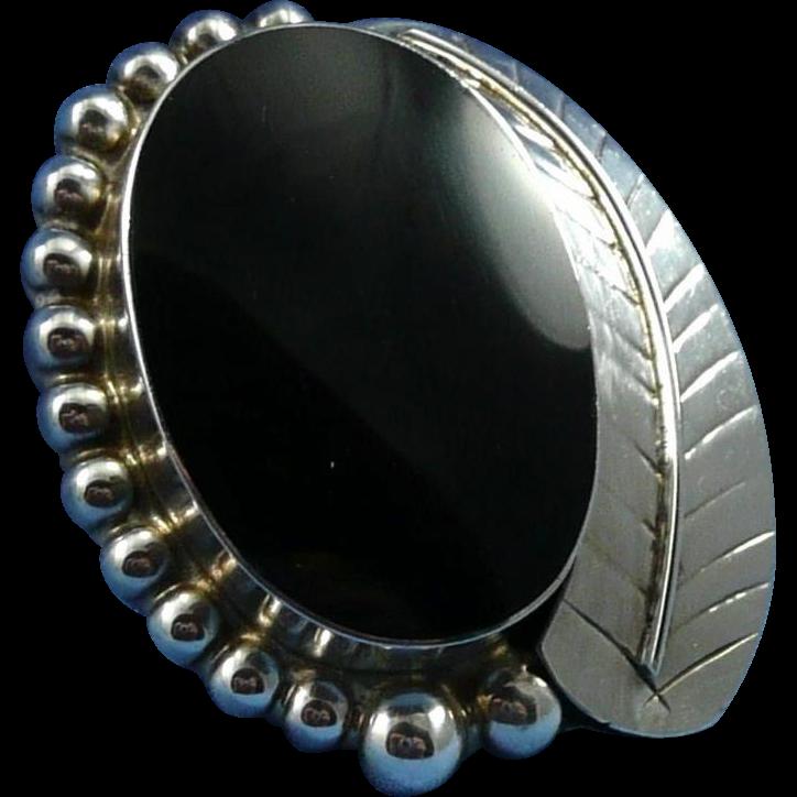 Vintage Mexican Sterling Silver Onyx Pendant / Brooch / Pin - Calderon Atachi