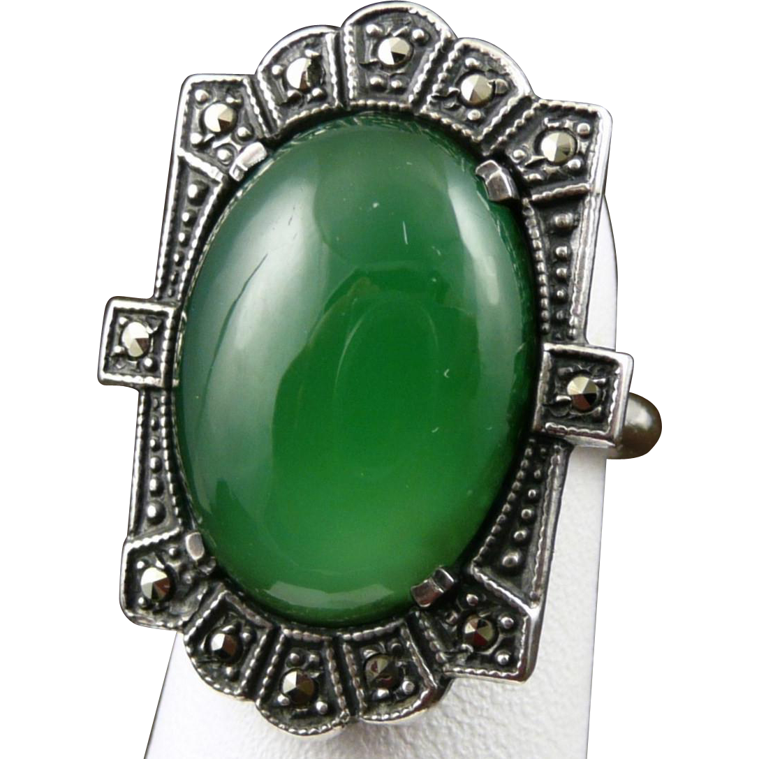 Vintage Sterling Silver Chrysoprase Marcasite Ring - Art Deco