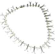 Vintage Sterling Silver Collar Necklace - Mexico