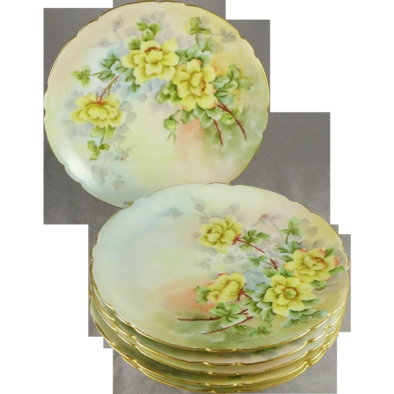 Antique Jean Pouyat Limoges Dessert Plates, Set of Six, Artist Signed
