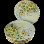 Antique Jean Pouyat Limoges Luncheon / Dessert Plates, Set of Six, Artist signed