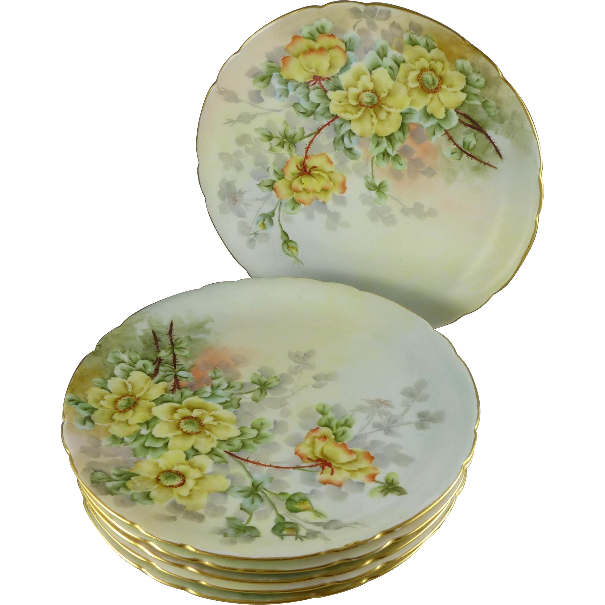 Antique Jean Pouyat Limoges Luncheon / Dessert Plates, Set of Six, Artist signed
