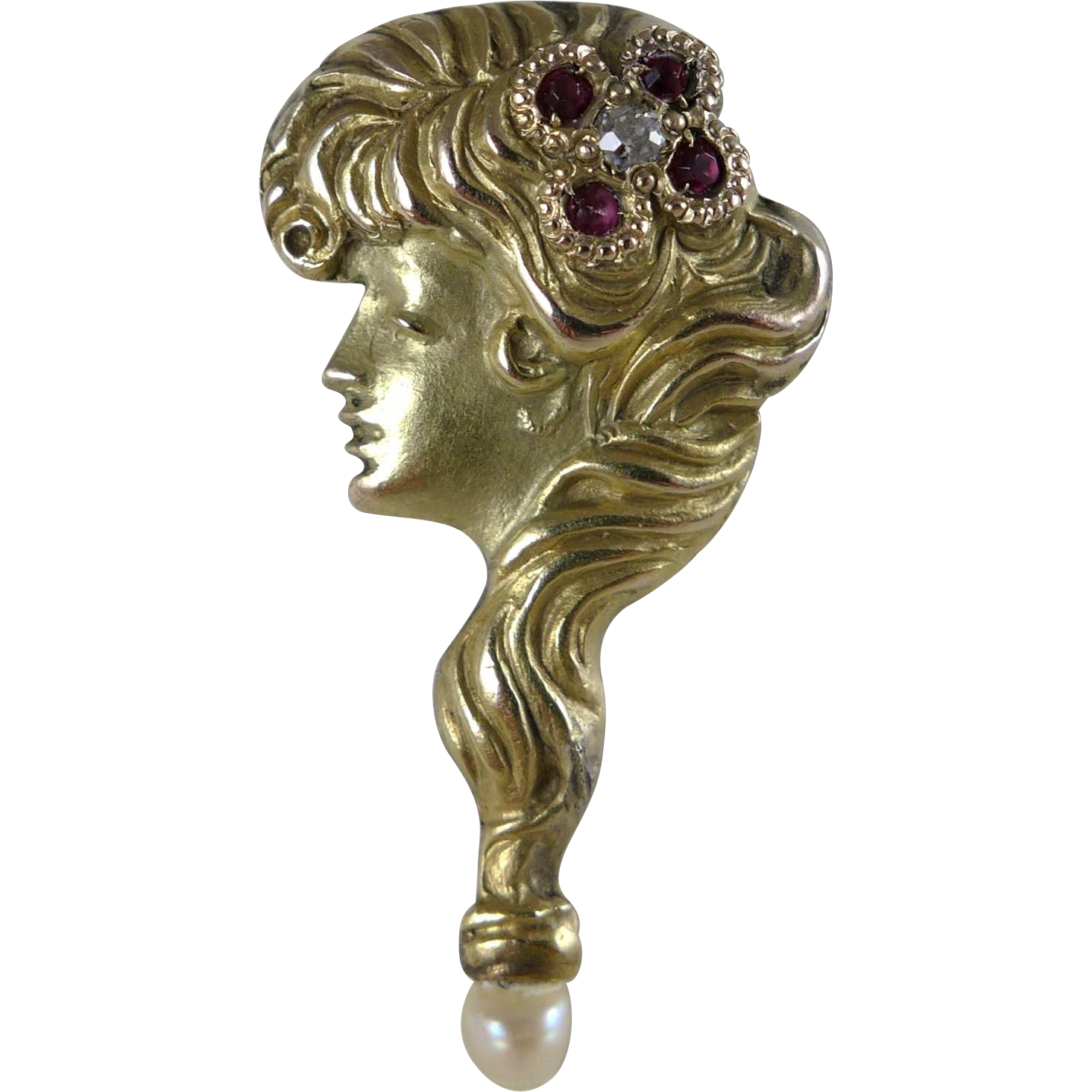 Antique 10K Gold Gibson Girl Stickpin / Stick Pin, Art Nouveau