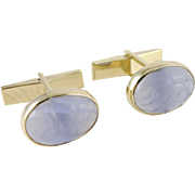 Vintage 14K Gold Carved Amethyst Cufflinks