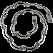 Vintage Sterling Silver Curved Link Necklace
