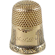 Antique 14K Yellow Gold Sewing Thimble, Size 8