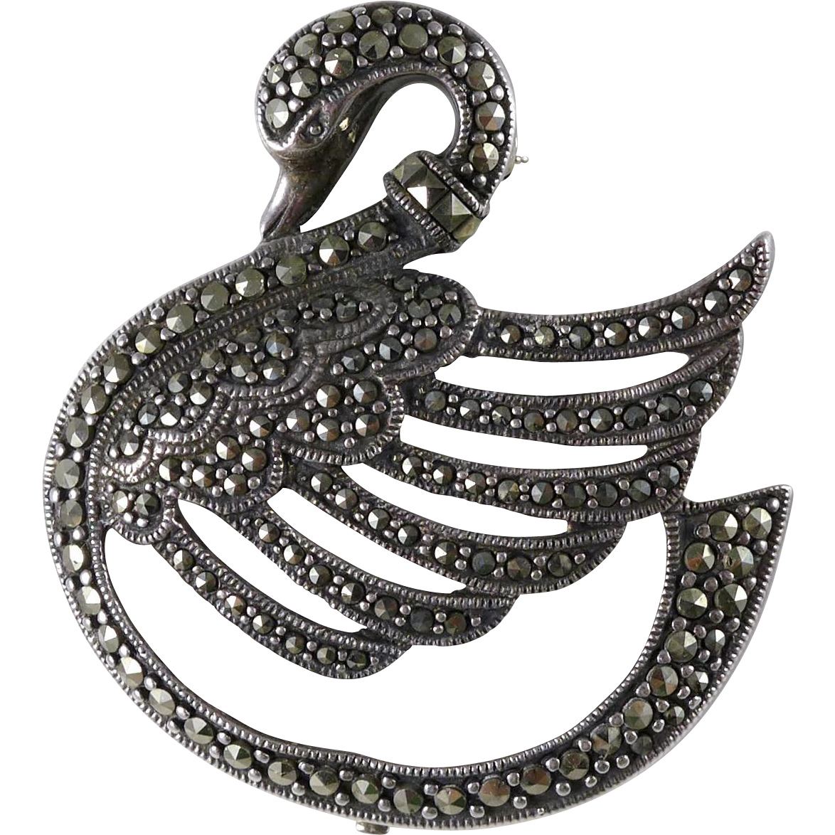 Vintage Sterling Silver Marcasite Swan Brooch / Pin