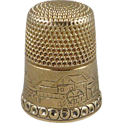 Antique 14K Gold Simons Brothers Thimble, Size 9