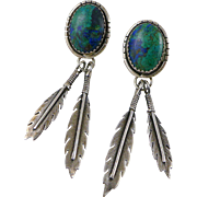 Vintage Sterling Silver Azurite Malachite Earrings