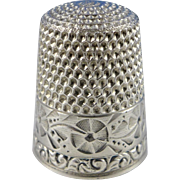 Antique Sterling Silver Waite Thresher Thimble, Size 9