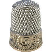Vintage Sterling Silver Waite Thresher Thimble, Size 7, Rose Gold Band