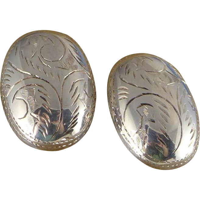 Vintage Sterlling Silver Domed Etched Earrings