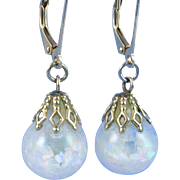 Vintage 14K Gold Floating Opal Earrings
