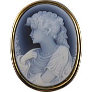 14K Gold Black Agate Cameo Pendant, Enhancer or Brooch
