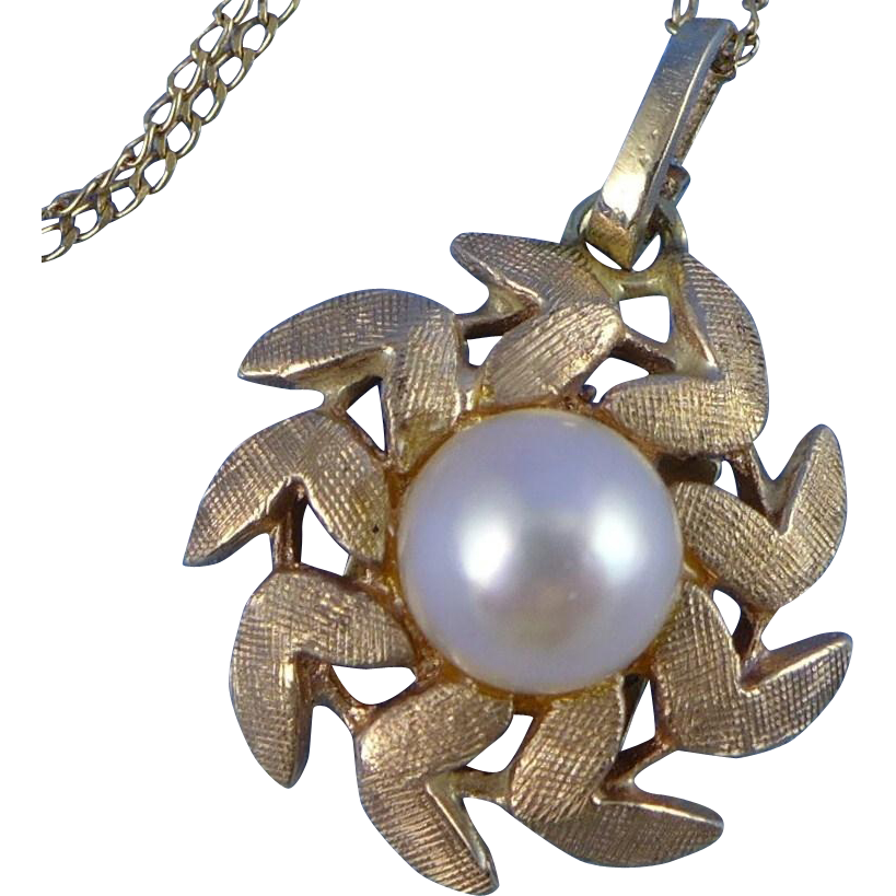 Vintage 14K Gold And Pearl Necklace - Mid Century
