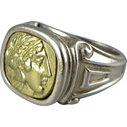 Vintage 18K Sterling Esti Frederica Ring, Signet Style Roman Soldier