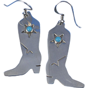 Vintage Sterling Silver Cowboy Boot Earrings, Southwest