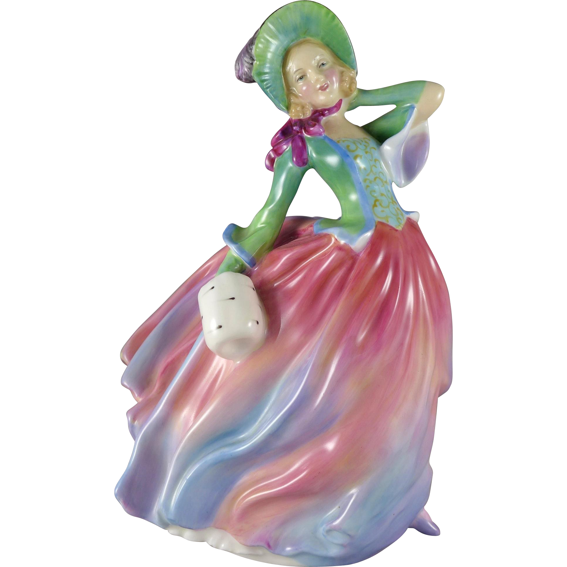Vintage Royal Doulton Autumn Breezes Figurine HN1911, Lady In Pastels
