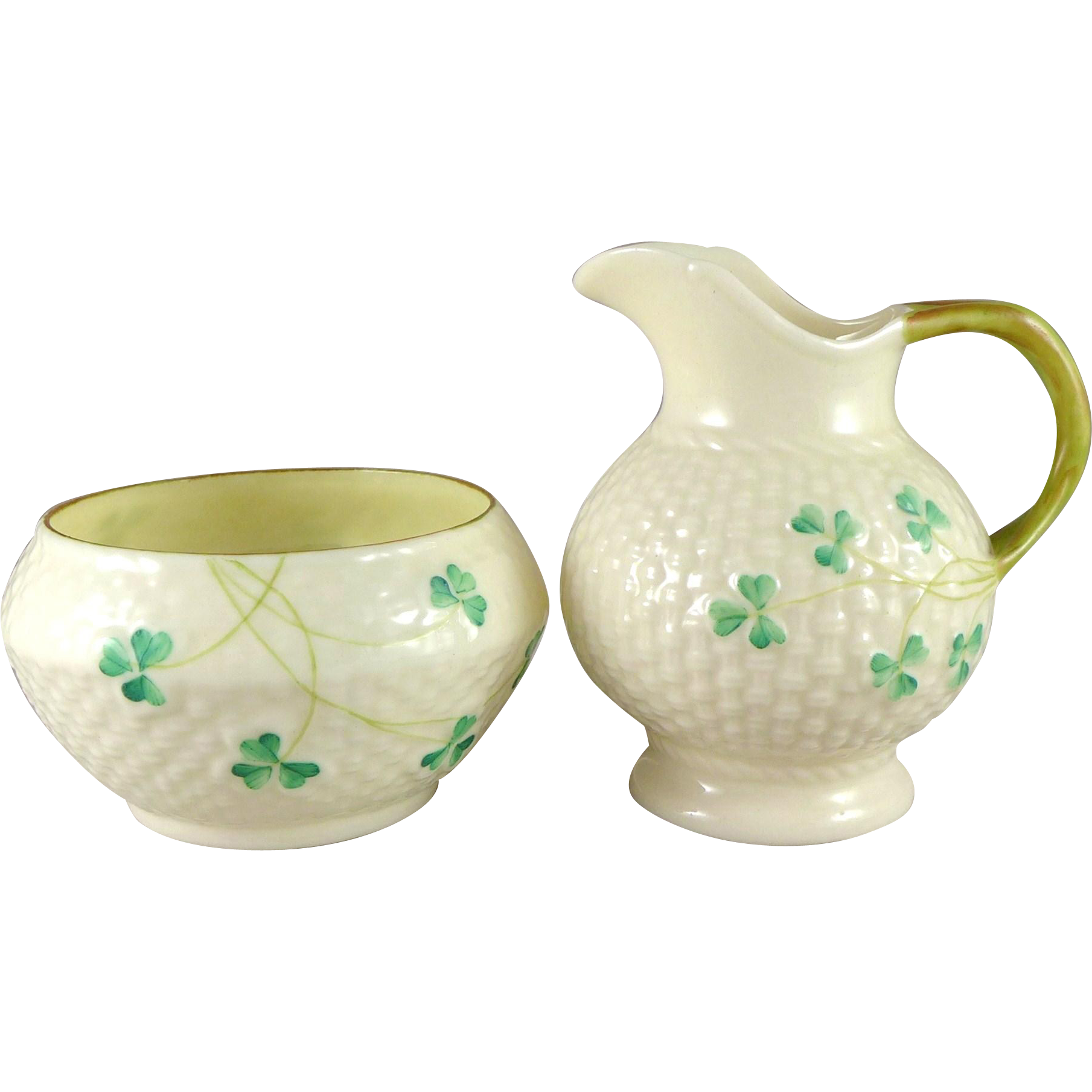 Vintage Belleek Shamrock Sugar And Creamer Set, 4th Mark 1946