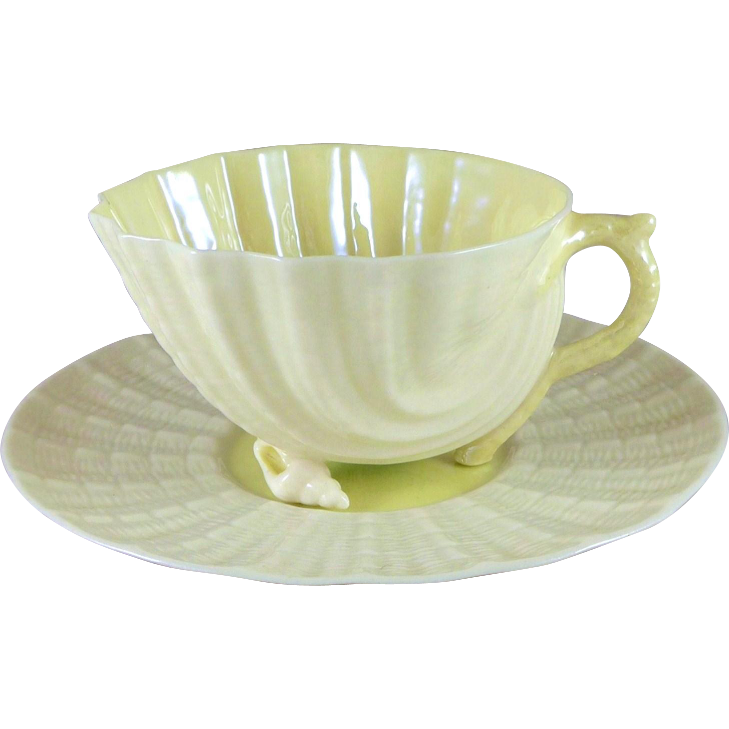 Vintage Irish Belleek Neptune Cup Saucer Set, 1st Green Mark 1946