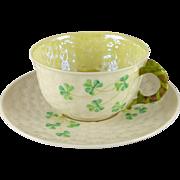 Vintage Belleek Shamrock Tea Cup Saucer Set, 1st Green Mark