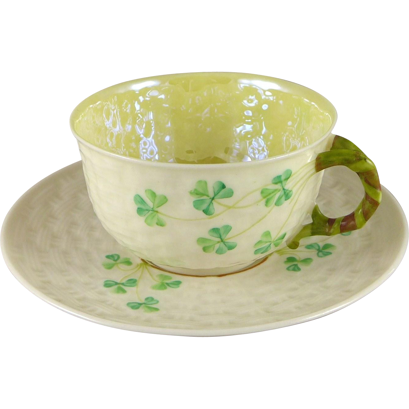 Vintage Belleek Shamrock Tea Cup Saucer Set, 1st Green Mark