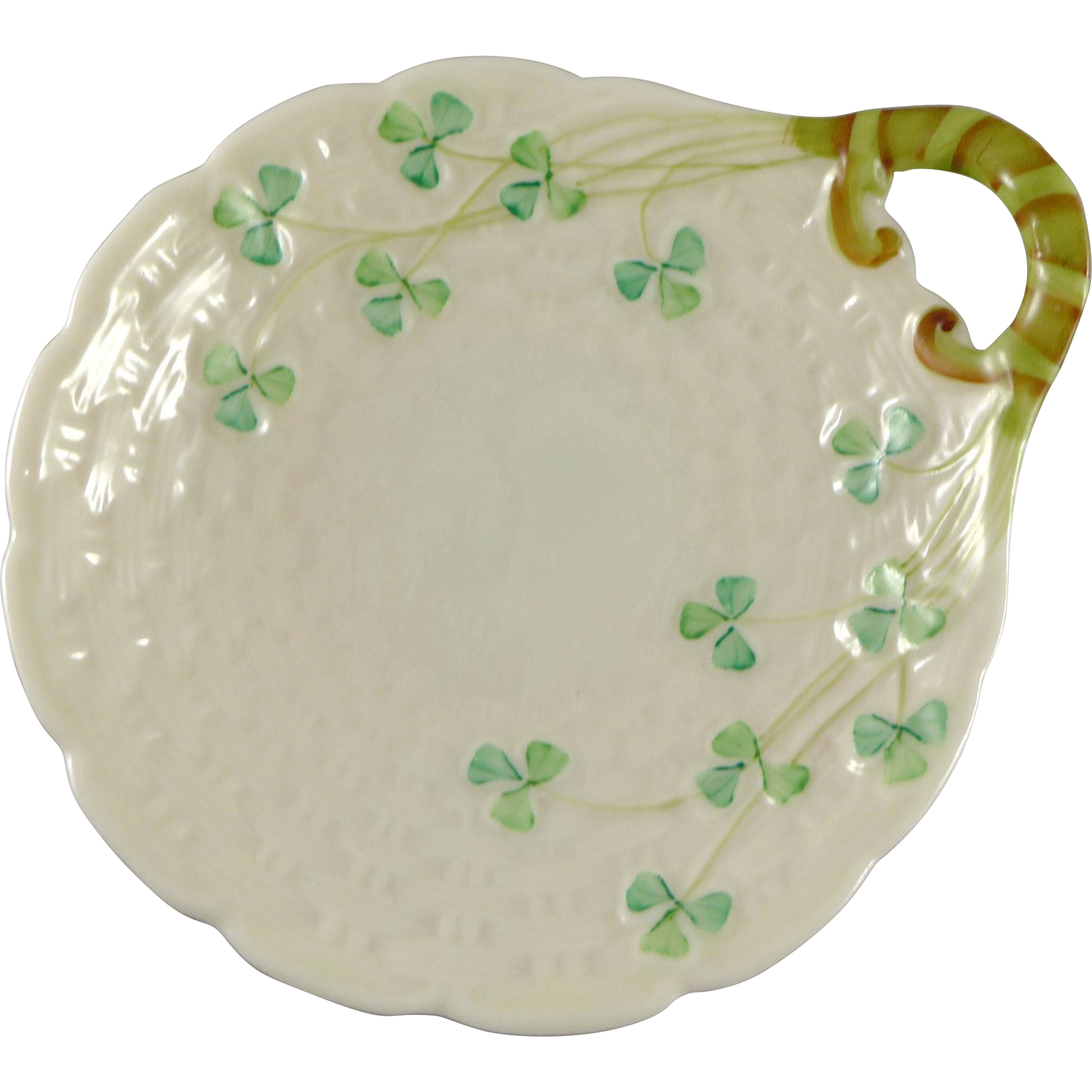 Vintage Belleek Shamrock Butter Server Dish, 2nd Green Mark