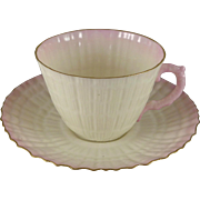 Vintage Belleek Limpet Pink Cup Saucer Set, Gold Trim, 2nd Green Mark