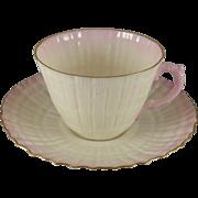 Vintage Belleek Limpet Pink Cup Saucer Set, Gold Trim, 2nd Green Mark