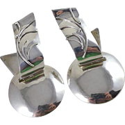 Vintage Large Sterling Silver Statement Earrings, Convertible Ruth Rosenfeld
