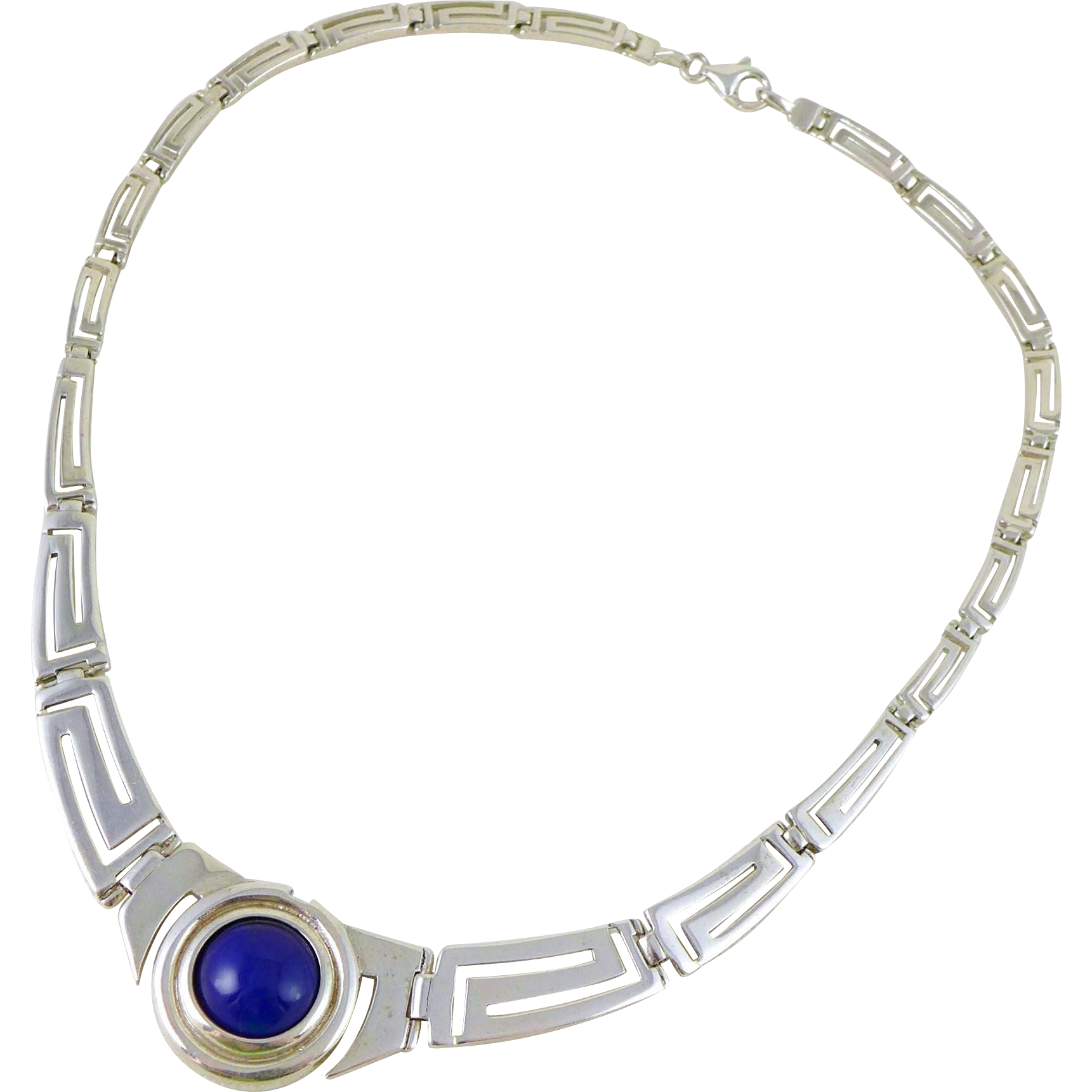 Vintage Sterling Silver Greek Key necklace With Blue Glass Stone